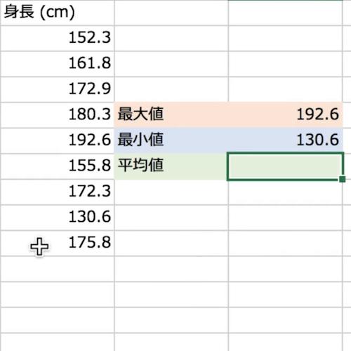 90秒で分かるExcel最大、最小、平均値の計算