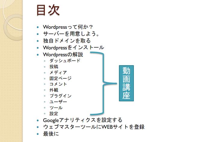 WordPress講座の目次