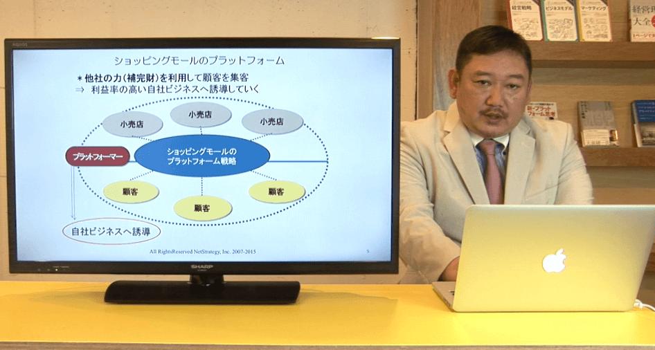 プラットフォーム戦略について解説するカール先生の動画のスクリーンショット画像