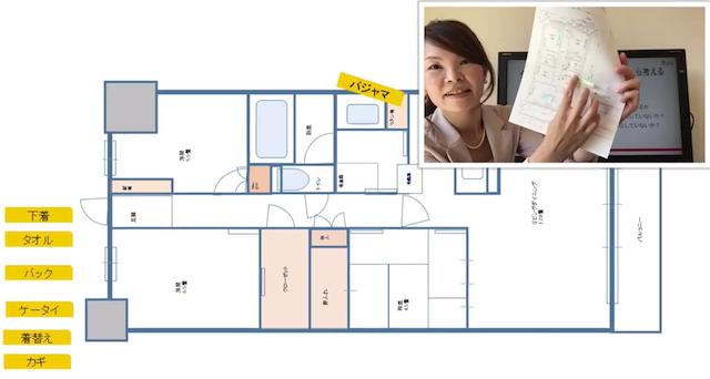 オンライン引っ越し講座のサンプル画像 - 間取りの図と引っ越しの解説をする門野内先生