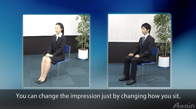 Appropriate posture when you sitting on the chair in Japan: 会社や面接で椅子に座るときの男女の正しい姿勢