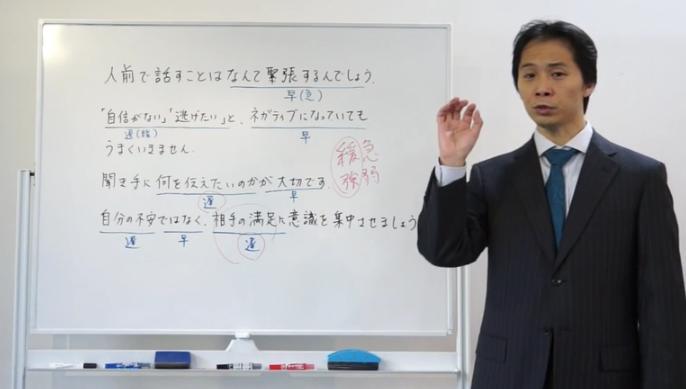 パブリックスピーキングのオンライン講座のスクリーンショット画像。講師である別役 慎司氏がホワイトボードの前で解説している様子