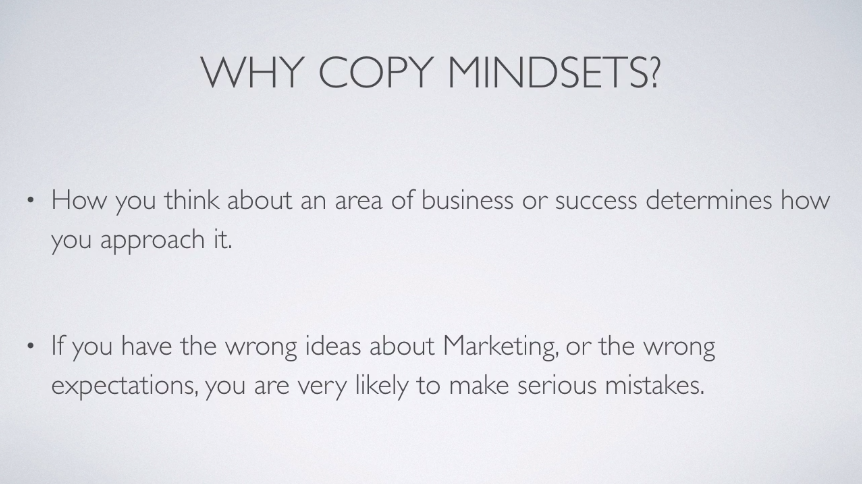 A screenshot of a vido in an online course of Copy Mindsets Mastering the Inner Game of Copywriting
