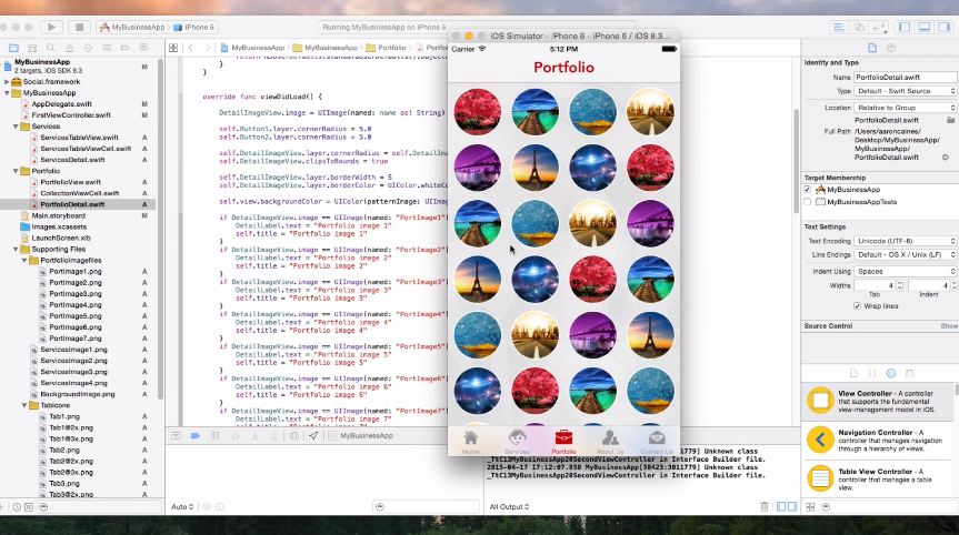 A screenshot image of a video in the online course of Create An App For Your Business in Swift